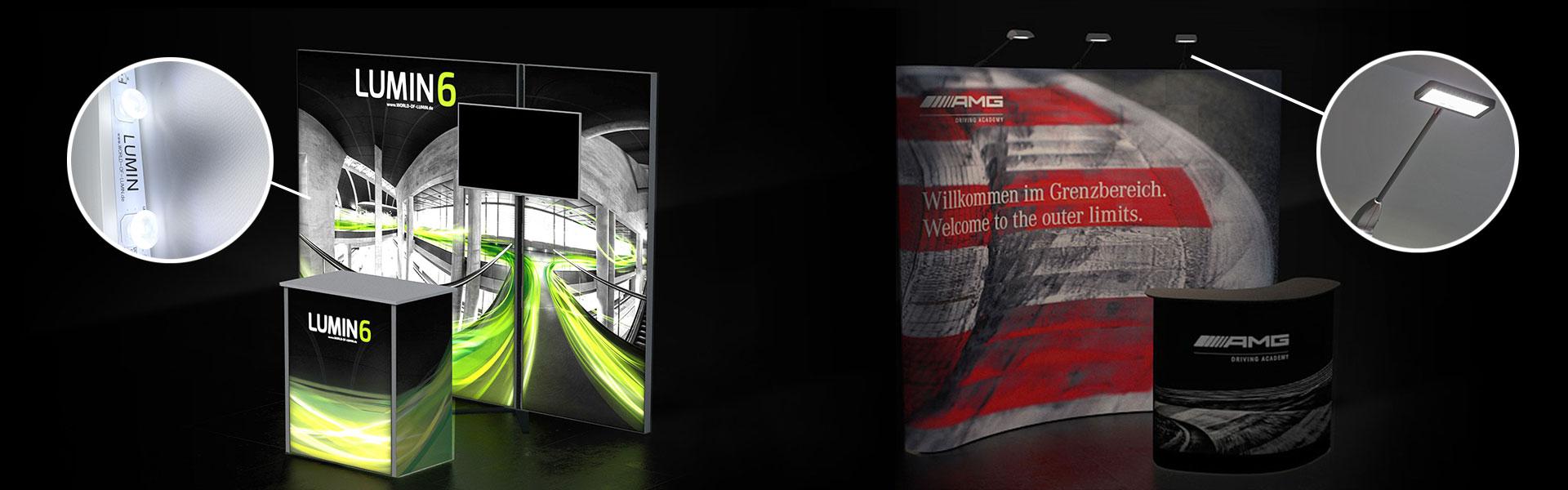 Vergleich Beleuchteter Messestand mit Hinterleuchtung und Faltwand mit LED Strahler