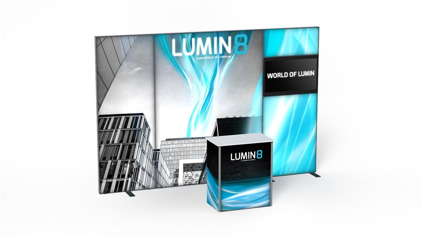 LUMIN8 Messestand 1m 2m TV Modul Theke 80