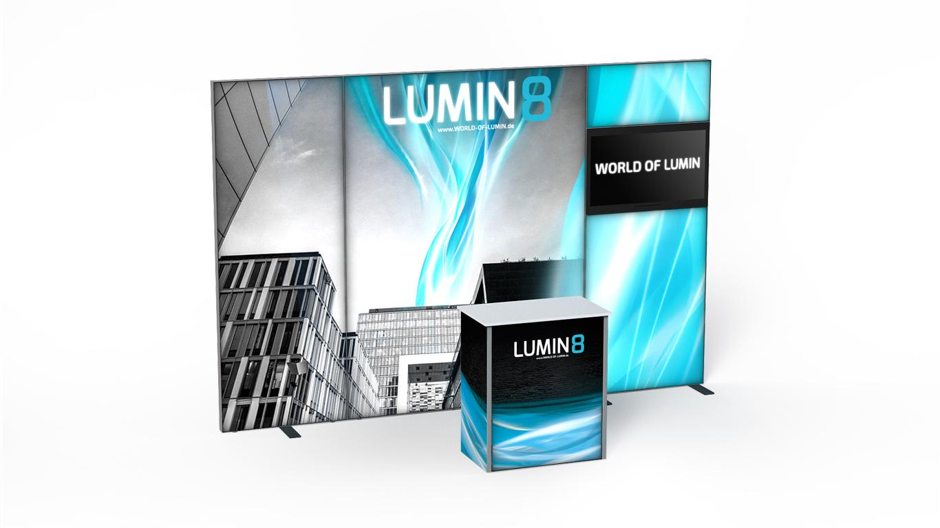 LUMIN8 Messestand 1m 2m TV Modul Theke 80
