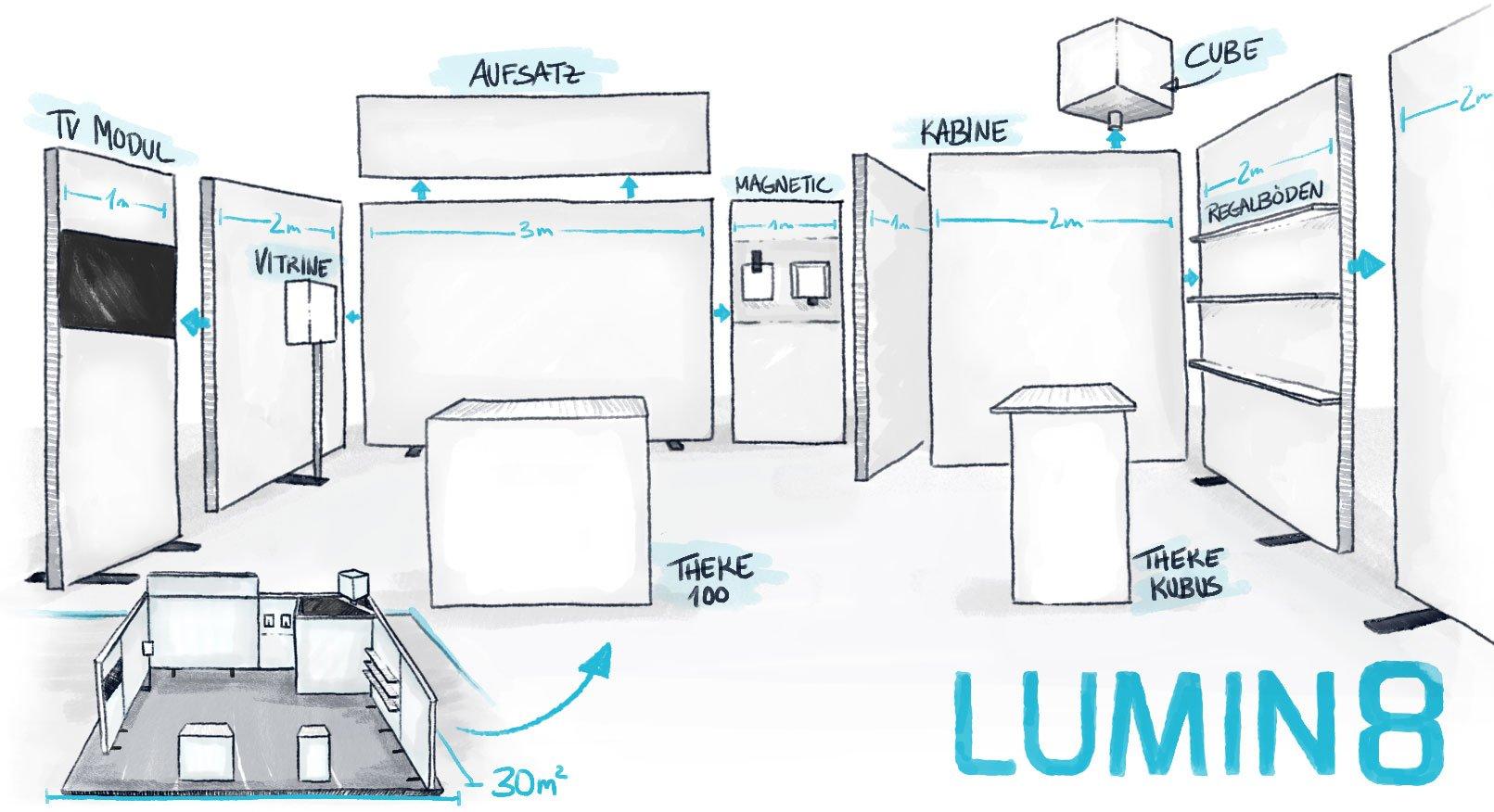 LUMIN8-Messestand ist anpassungsfähig