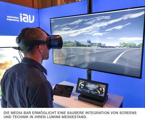 Die Media Bar im Einsatz. Virtual Reality am Messestand leicht gemacht!
