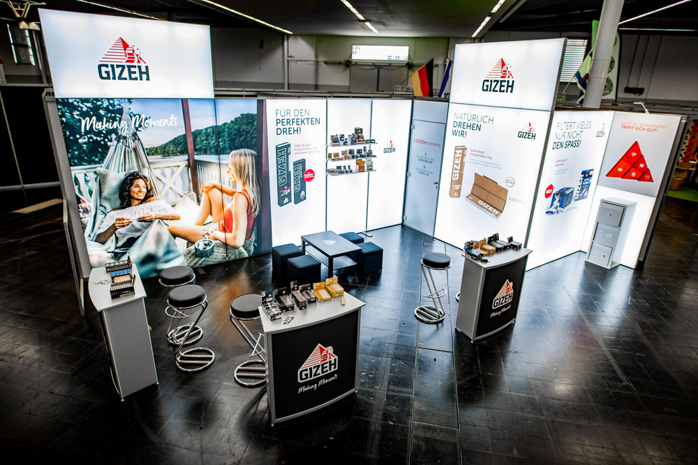 GIZEH CNBS MEsse Koeln LED Messestand LUMIN8