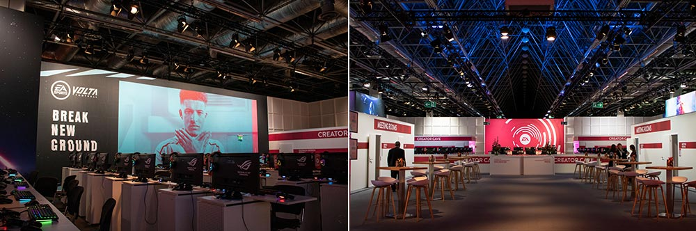Gamescom 2019 Electronic Arts in Halle 1 mit der Businesslounge