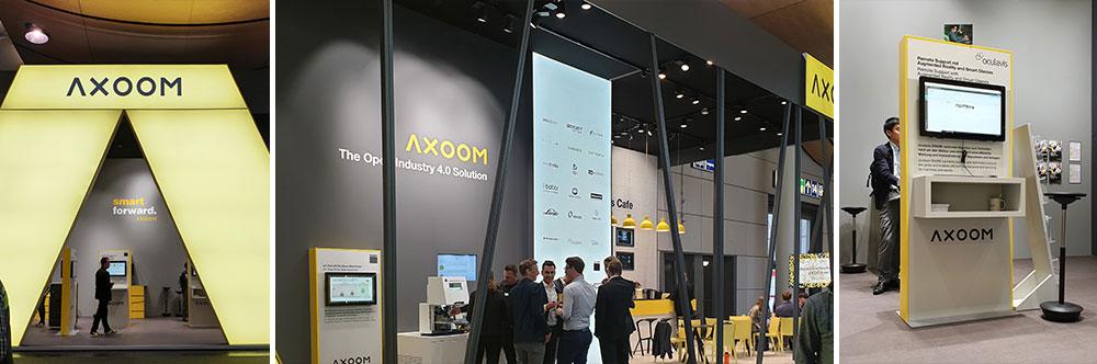 AXOOM bindet erfolgreich ihre CI in das Messestand-Design ein
